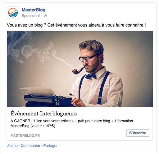 Exemple de publicité Facebook MasterBlog